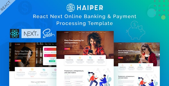 Haiper - React Next Banking & Payment Template - Technology Site Templates