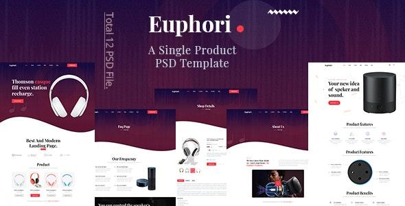 Euphori - Single Product Landing PSD Template - Retail PSD Templates
