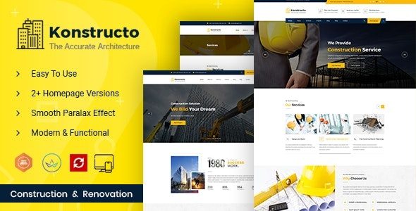 Konstructo - Construction and Architecture WordPress Theme - Business Corporate