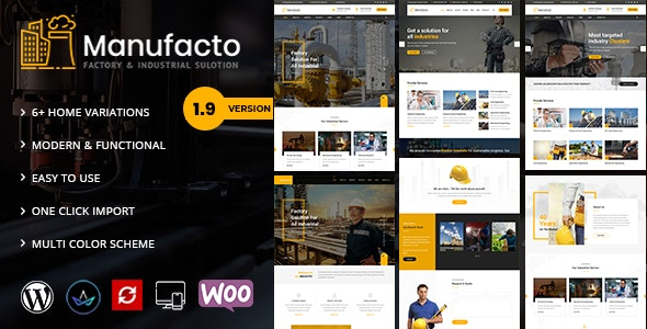 Manufacto -  Factory WordPress Theme - Business Corporate