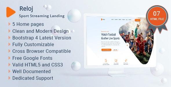 Reloj - Sports Streaming Landing HTML Templates - Film & TV Entertainment