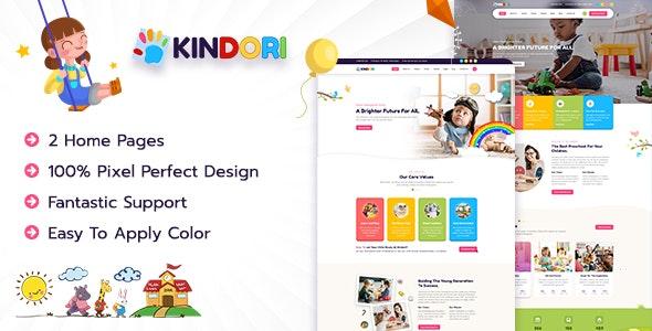 Kindori - Kids & Kindergarten School PSD Template - Children Retail