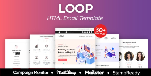 Loop - Multipurpose Responsive Email Template 30+ Modules - Mailster & Mailchimp - Newsletters Email Templates