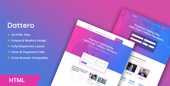 Dattero - Dating, Marriage Agency & Matrimonial HTML Template - Business Corporate