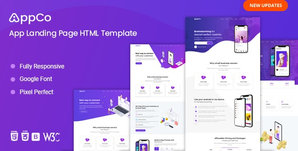 AppCo - App Landing Page Template - Technology Landing Pages