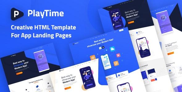 PlayTime - Mobile App Landing HTML Template - Software Technology