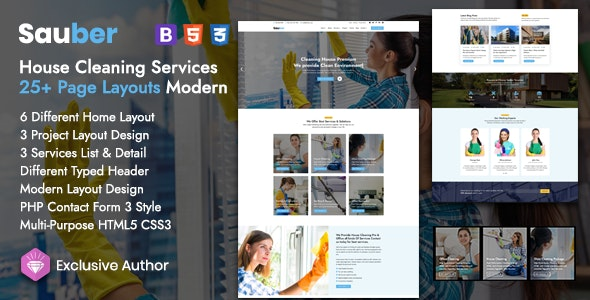 Sauber - House Cleaning Services Template - Business Corporate