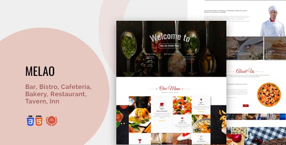 Bar, Bistro, Cafeteria, Bakery, Restaurant, Tavern, Inn | Melao Responsive Theme