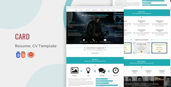 Card Resume, Blog Html5/Css3 Bootstrap Template