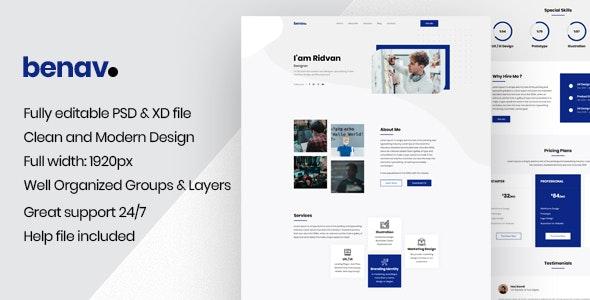 Benav - Personal Portfolio PSD Template - Personal Photoshop