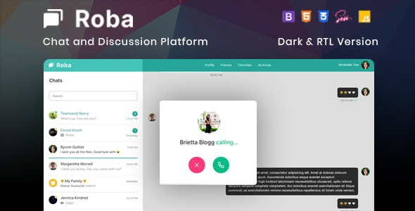 Roba - Chat and Discussion Platform HTML5 Template - Admin Templates Site Templates