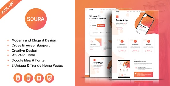 Soura - HTML5 App Landing Page - Technology Site Templates
