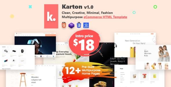 Karton | Fashion and Minimal Multipurpose eCommerce HTML5 Template - Retail Site Templates