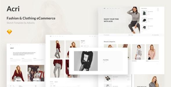 Acri - Fashion & Clothing eCommerce Sketch Template - Fashion Retail