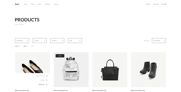Acri - Fashion & Clothing eCommerce Sketch Template