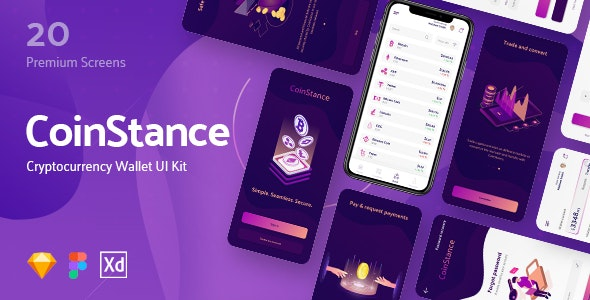 CoinStance - Mobile Cryptocurrency Wallet - Sketch Templates
