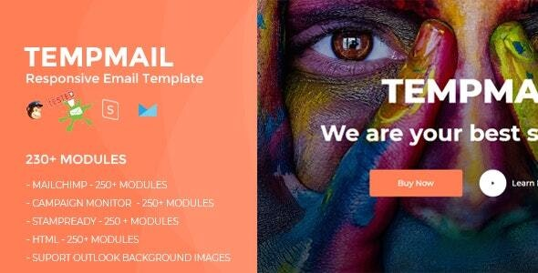 TEMPMAIL - Responsive Email Template (230+ Modules) + Online Stampready Builder - Newsletters Email Templates