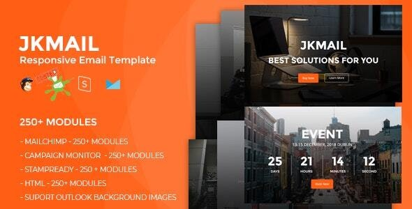 JKmail- Best Responsive Email Template (250+ Modules) + Online Stampready Builder - Newsletters Email Templates