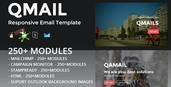 QMAIL - Responsive Email Template + Stampready Builder - Newsletters Email Templates
