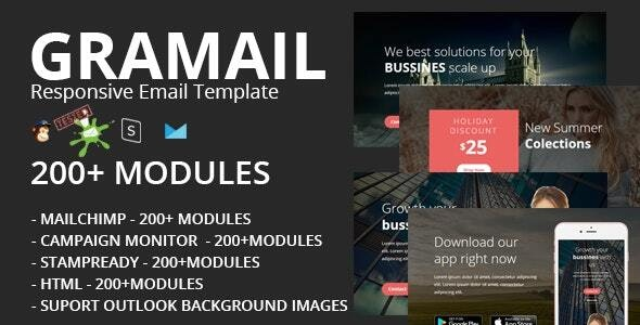 GRAMAIL - Responsive Email Template (200+ Modules) + Stampready Builder - Newsletters Email Templates