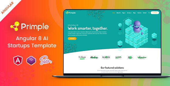 Primple - Angular 8 AI Startups Template - Technology Site Templates