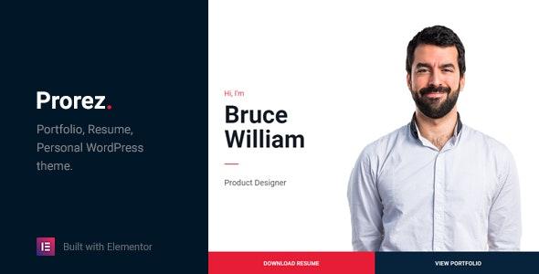 Prorez - One Page Resume WordPress Theme - Portfolio Creative