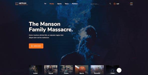 Netflex - Online Movie,Vedio and TV Show PSD Template