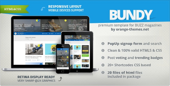 Bundy - Viral Buzz News & Magazine HTML Template - Entertainment Site Templates