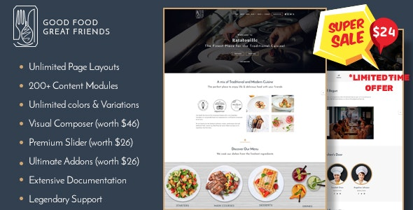 Restaurant WordPress Theme | Ratatouille - Restaurants & Cafes Entertainment