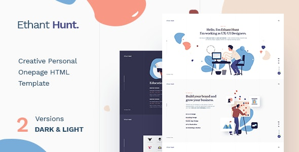 Ethant Hunt - Personal Onepage HTML Template - Virtual Business Card Personal