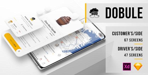 Dobule - Food Delivery UI Kit for Mobile App - Sketch Templates