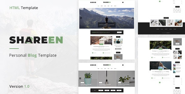 Shareen - Personal Blog Template - Personal Site Templates