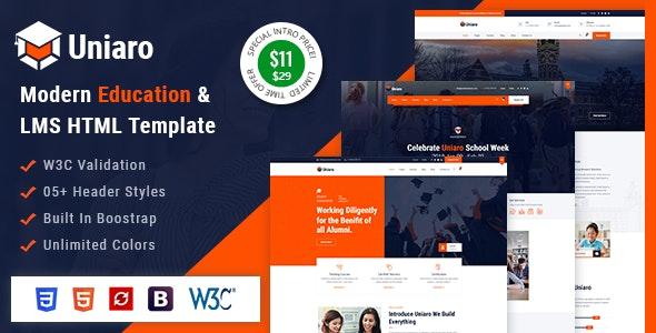 Uniaro - LMS Education HTML Template - Corporate Site Templates