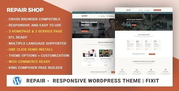 Phone, Computer Repair Shop Responsive WordPress Theme - Fixit - Technology WordPress