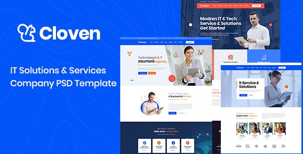 Cloven - IT Solutions And Services Company PSD Template - Marketing Corporate