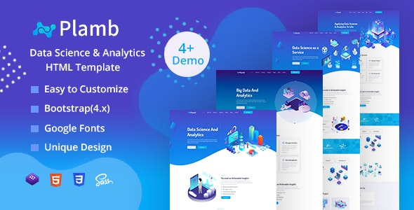 Plamb - Data Science & Analytics HTML Template - Technology Site Templates