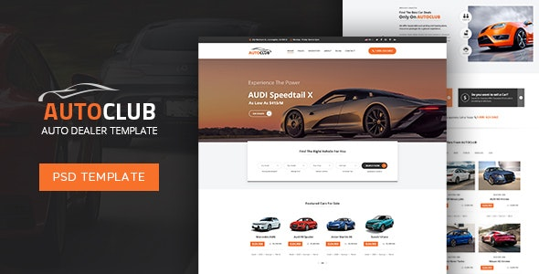 Auto Club - Dealer PSD Template - Retail Photoshop