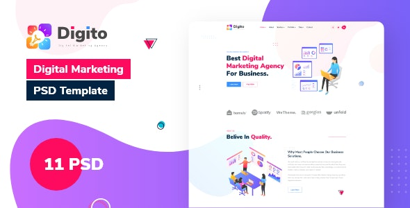 Digito - Digital Marketing & Consulting Agency PSD Template - Marketing Corporate