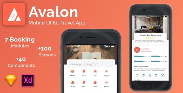 Avalon - mobile UI Kit Travel App for Sketch - Corporate Sketch