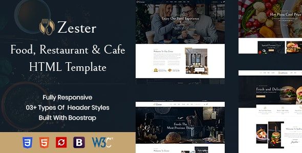Zester - Restaurant and Cafe HTML5 Template - Food Retail