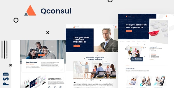 Qconsul - Business Consulting PSD Template - Business Corporate