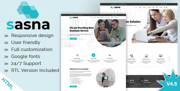 Sasna - Multipurpose Business HTML Template + RTL - Business Corporate