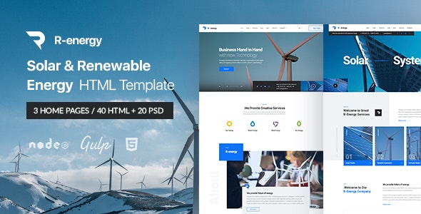 R-energy | Solar & Renewable Energy HTML Template - Technology Site Templates