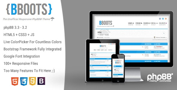 BBOOTS - HTML5/CSS3 Fully Responsive phpBB 3.2 Theme - PhpBB Forums