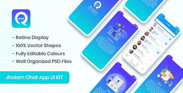 Jholam - Chat App UI KIT - PSD Templates