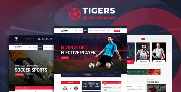 Tigers - Soccer Sports HTML Template - Entertainment Site Templates