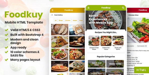 Foodkuy - Mobile HTML Template - Mobile Site Templates