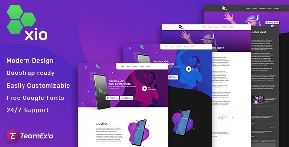 Xio - App Landing Page PSD Template - Software Technology
