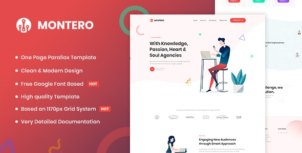 Montero | One Page Parallax HTML5 Template - Marketing Corporate