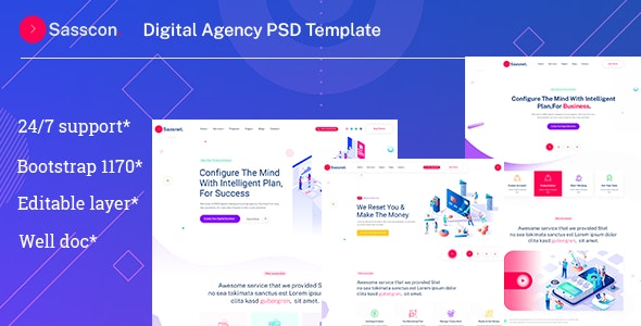 Sasscon | Digital Agency PSD Template - Business Corporate